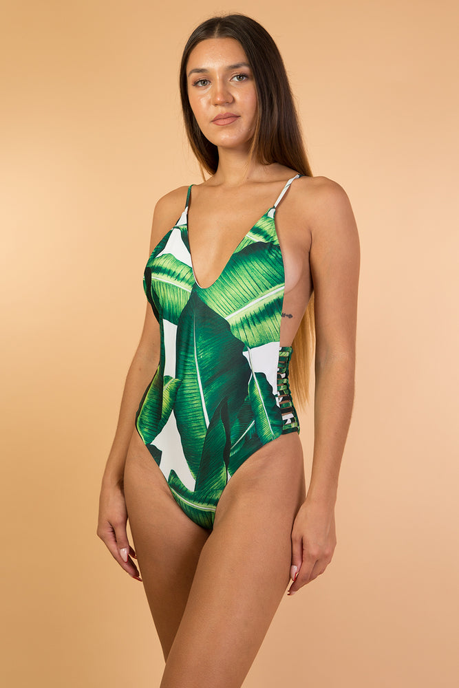 Green Tropical Print One Piece