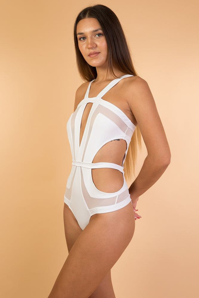 White Mesh Detail One Piece