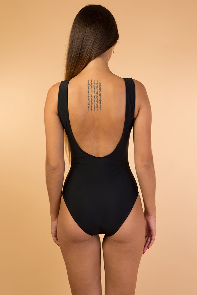 Black Scoop Open Back One Piece