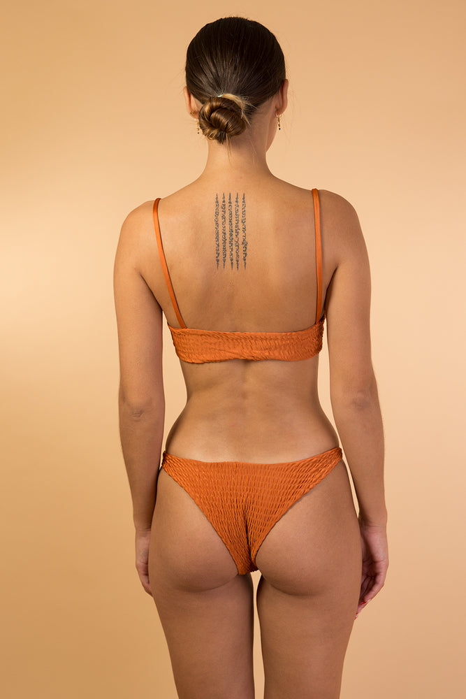 Orange Dark Smocked Bikini Set