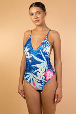 Blue Tropical Print Open Back One Piece