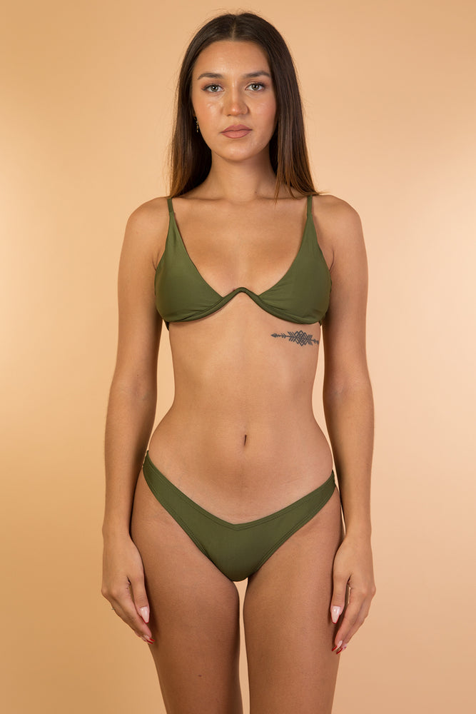 Green Khaki Under Wire Bikini Set