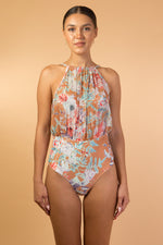 Brown Floral Printed One Piece