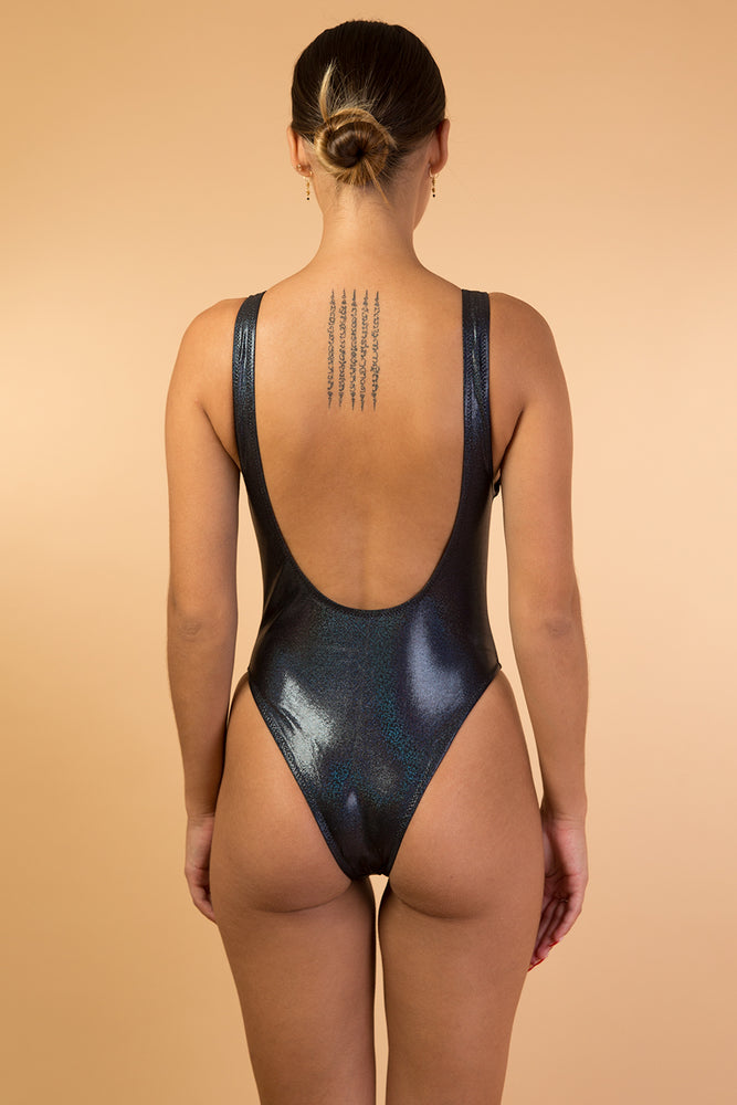 Black Shiny Glitter Backless One Piece