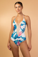 Blue Floral Printed One Piece