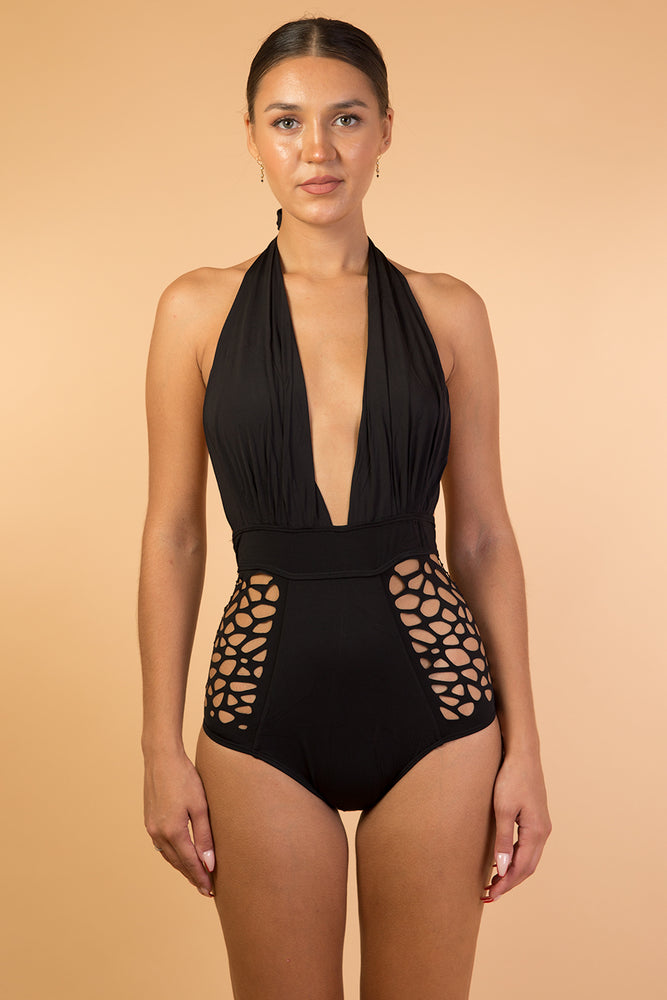 Black Waist Detail One Piece