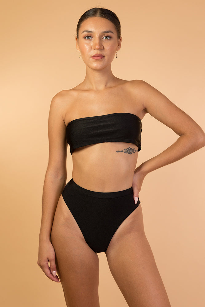Black Shiny High Waist Bikini Set