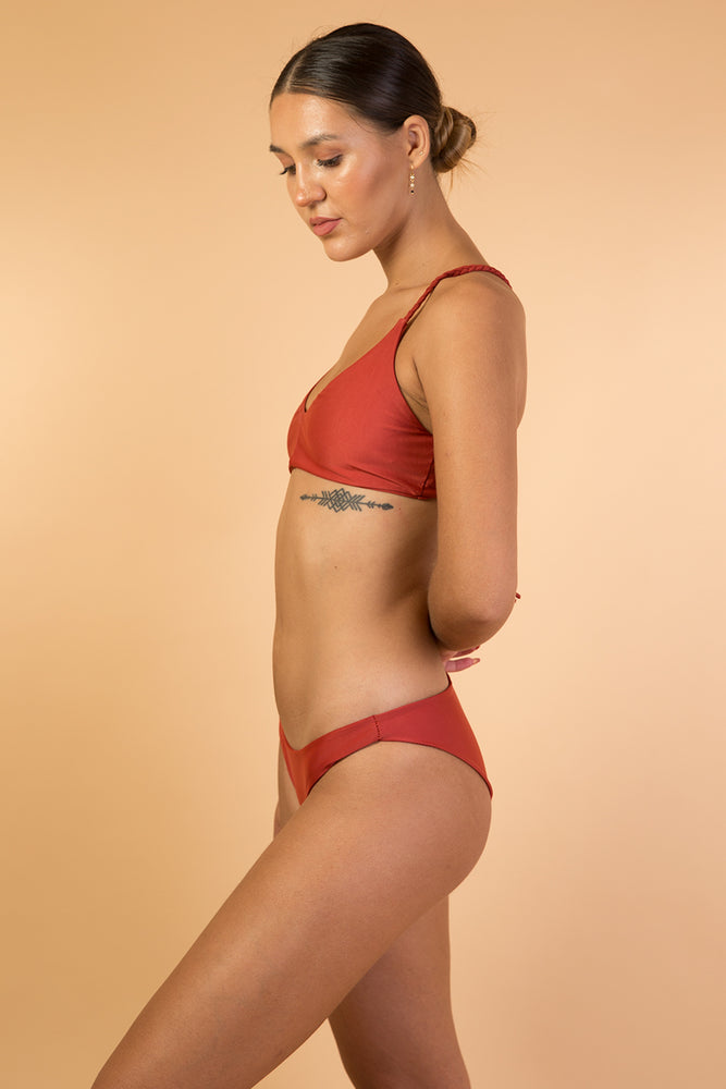 Brick Red Back Strap Bikini Set