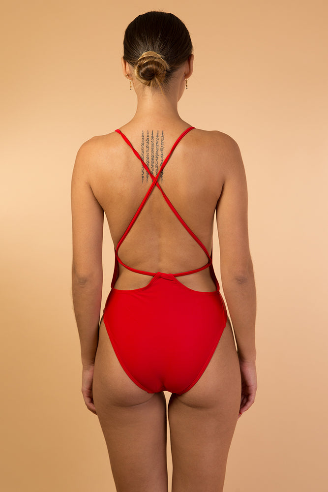 Red Lace Up Back Detail One Piece