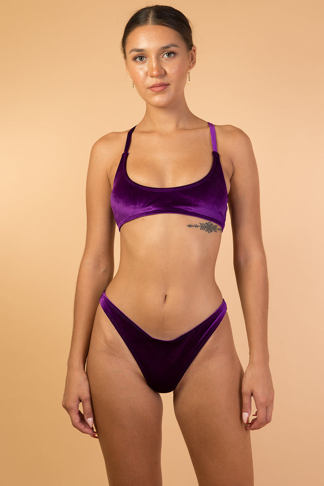 Purple High Waist Velvet Bikini Set