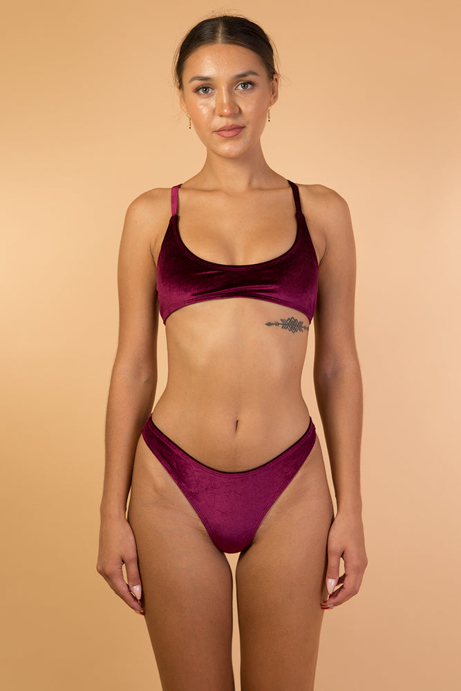 Wine Red High Waist Velvet Bikini Set