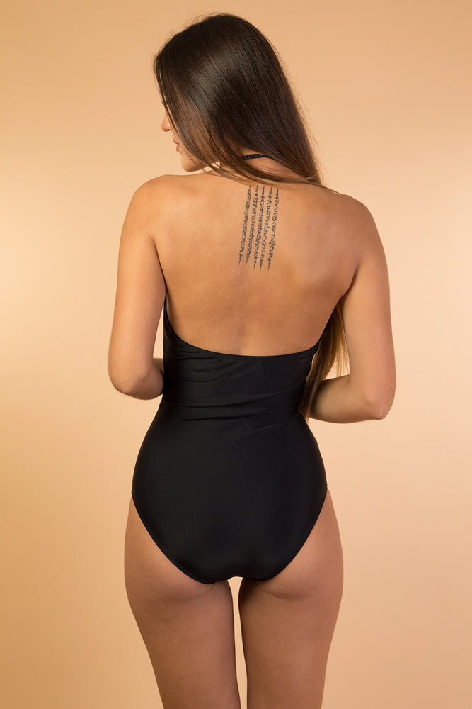 Black and White Strapless One Piece