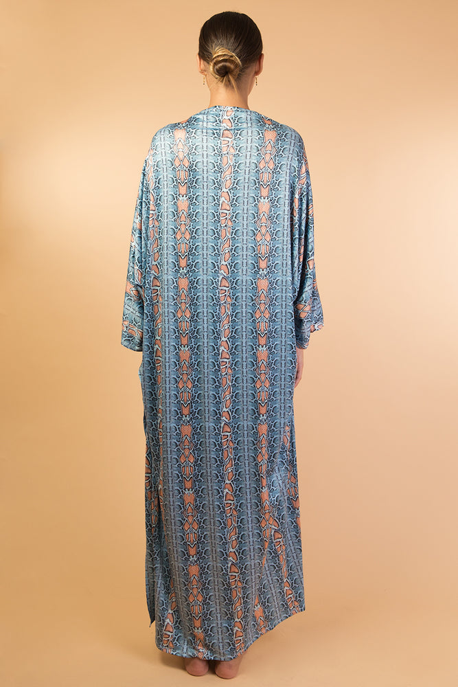 Blue Snake Print With Cape One Piece