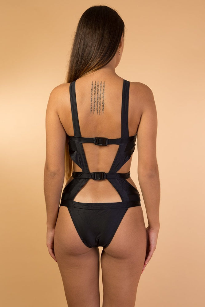 Black Mesh Detail One Piece