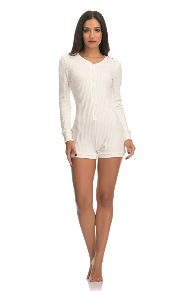 LEIA RIBBED WHITE | SHORT ONESIE