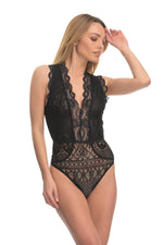 Black floral lace sleeveless bodysuit