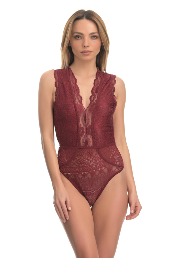 Wine Red floral lace sleeveless bodysuit