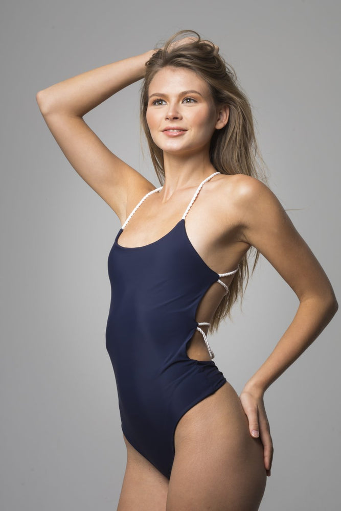 Blue Open Back Detail One Piece