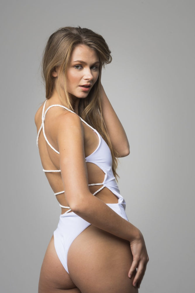 White Open Back Detail One Piece