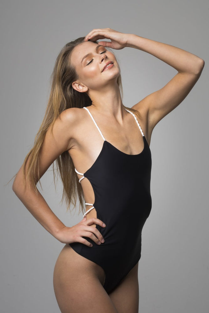 Black Open Back Detail One Piece