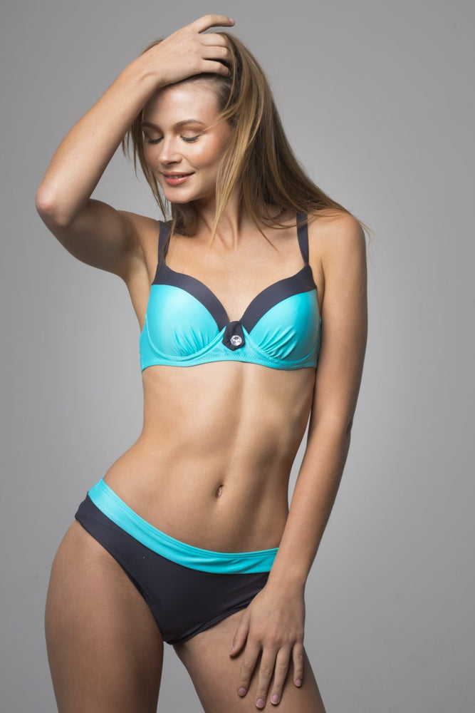 Blue Retro Push-up bikini set