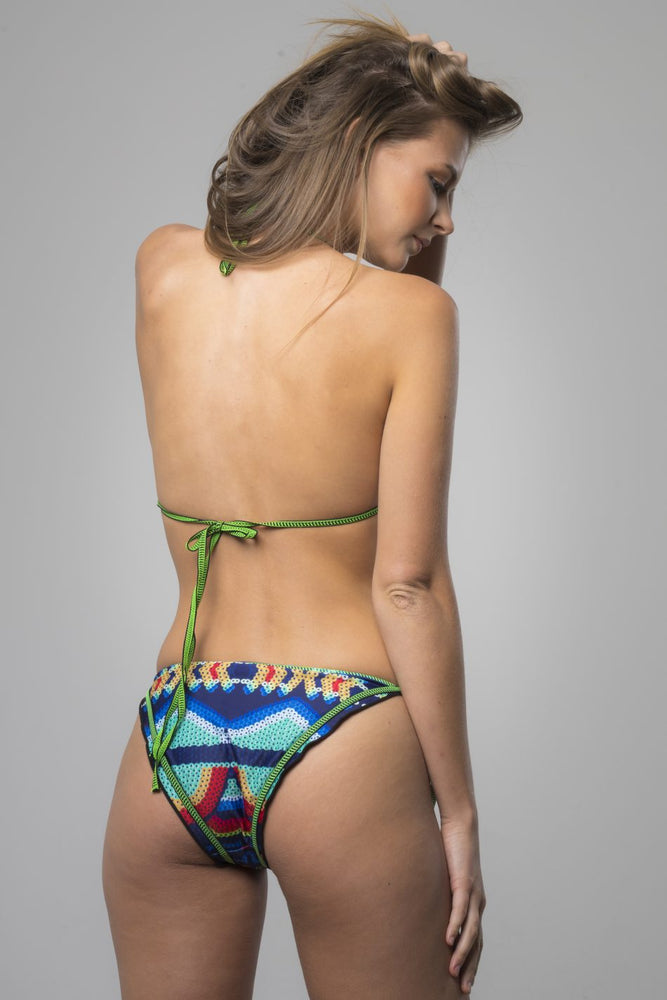 Green Ruffled Printed Bikini Set