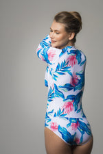 Blue Floral Printed Surf One Piece