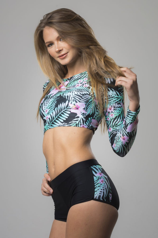 Floral Surf Long Sleeve Bikini Set