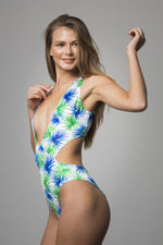 Green Printed Deep V One Piece