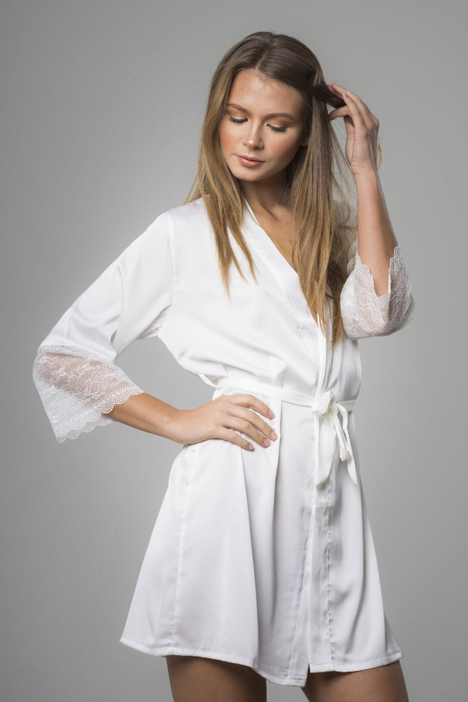 White Satin with Lace Sleeves Robe