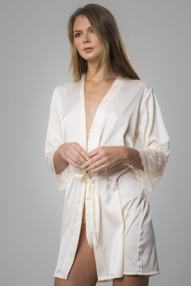 Beige Satin with Lace Sleeves Robe