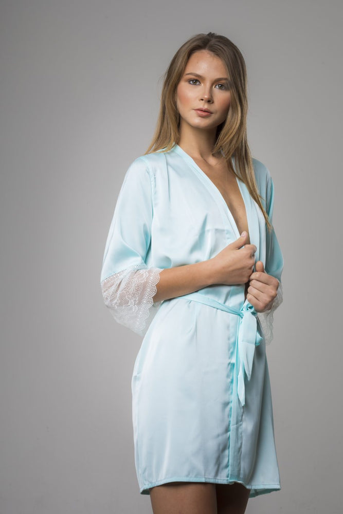 Blue Soft Cayan Satin with Lace Sleeves Robe