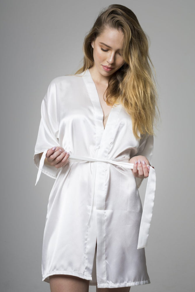 White Bride Satin Night Robe
