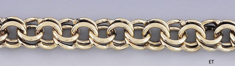 Fabulous Vintage 14k Gold Double Link Chain Bracelet for Charms Heavy Weight