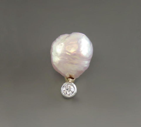 Antique American 14K Yellow Gold Natural Pearl Diamond Gemstone Stickpin