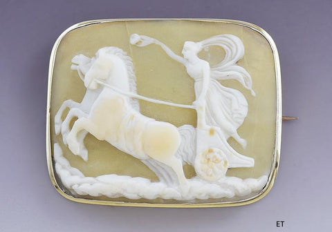 Antique 19th Century 14K Gold & Shell Cameo Pin Woman Driving Chariot