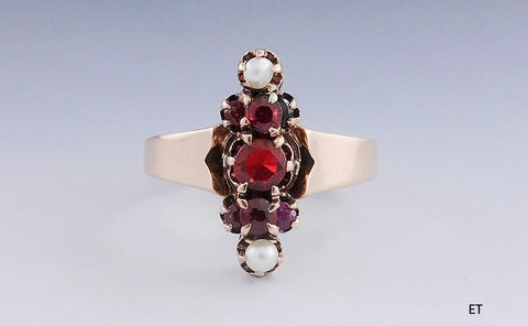 Charming Victorian 10K Gold Seed Pearl & Glass Garnet Ring