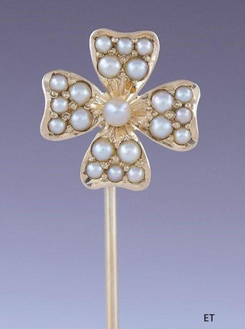 Antique American Natural Pearl 14K Gold Lucky Shamrock 4 Leaf Clover Stickpin