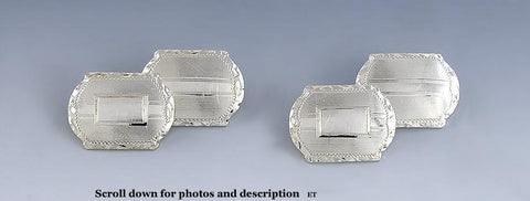 Quality Pair VTG American 14k White Gold Cufflinks W/ Blank Cartouche