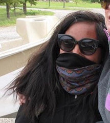 Girl wearing face mask Buff neck gaiter