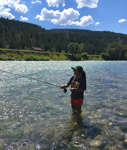 Lorenza fly fishing on the Snake River On River Time