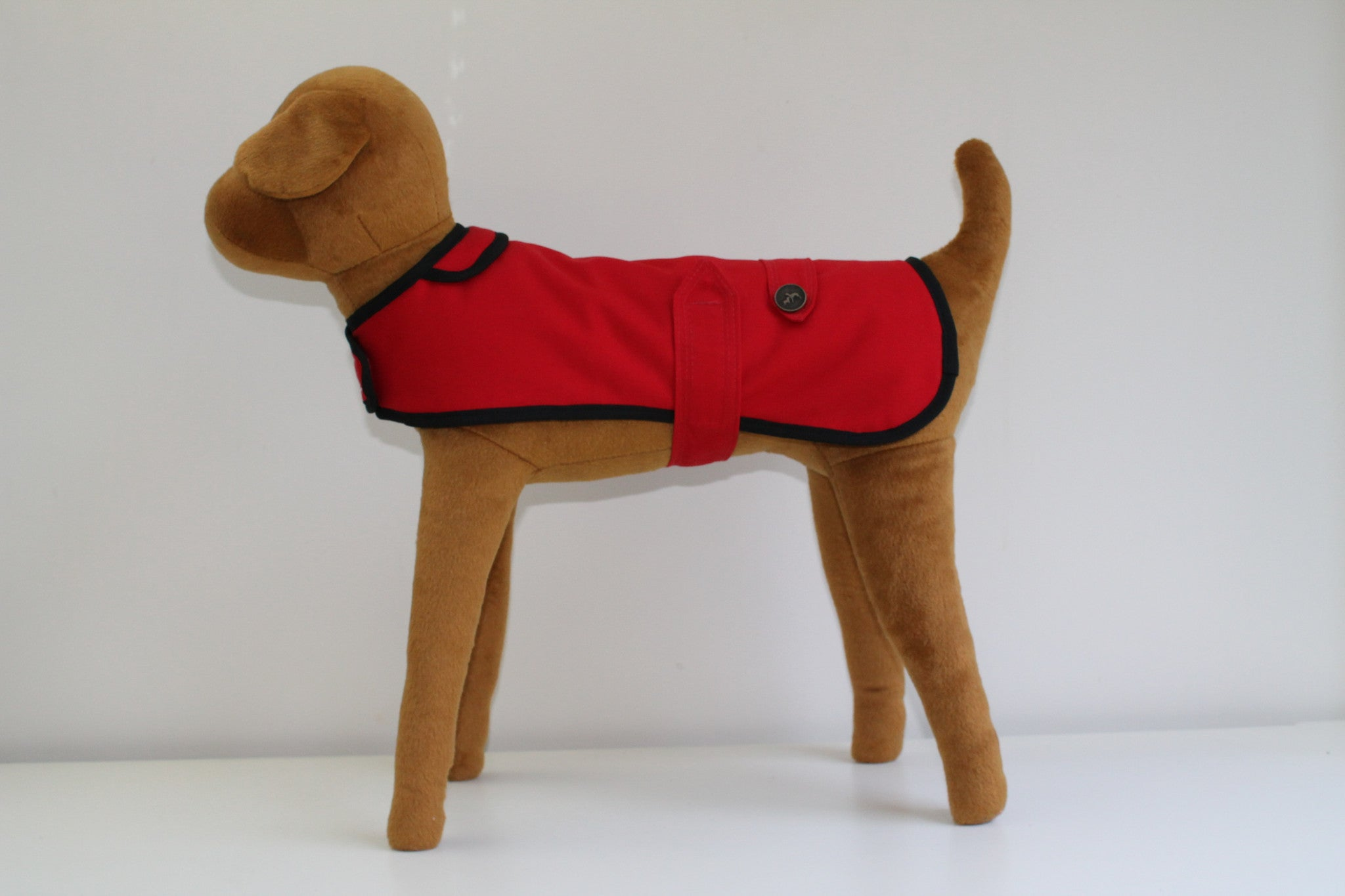 Red Waxed Cotton French Bulldog Coat