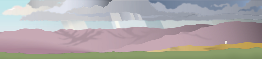 Background of nature guide showing thunderstorm on horizon.
