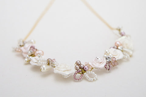 Floral Bridal Necklace Blush Nude