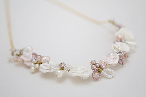 Flower necklace Wedding Pink Nude Blush