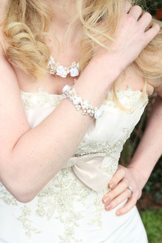 Boho Flower Bridal Necklace and Bracelet - Ivory and White
