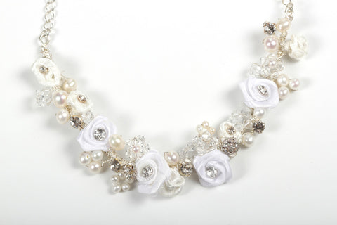 Romantic Rose Bridal Necklace - Ivory & White