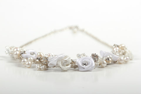 Romantic Boho Floral Wedding Necklace - Ivory and White