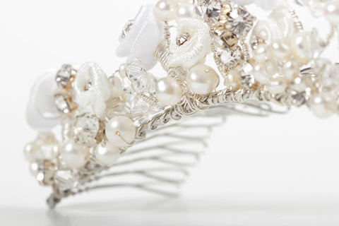 Romantic Floral Wedding Tiara - Ivory & White