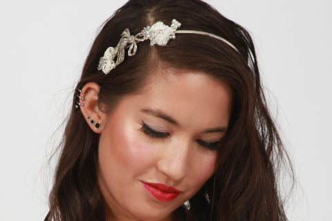 Bow - Headband - Silver/Cream